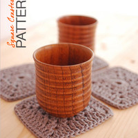 CROCHET Pattern - Instant Download - Square Coasters