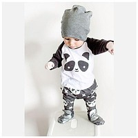 2017 Hot sale baby boy clothes set unisex cartoon panda long-sleeved T-shirt+pants 2pcs Infant baby girl clothing set