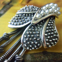Dangles and Glass Pearls Silver TORTOLANI Brooch, Cactus Style, Modernist Silver Tone, Vintage