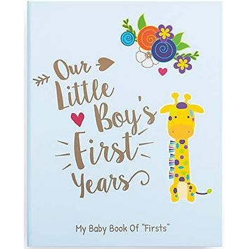 Ronica Memory Book for Baby Boy, Photo Album, Easy to Use Keepsake Scrapbook, Modern Baby Shower Gift and Keepsake for New Parents to Record Photos and Milestones Giraffe For Boys