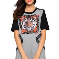 Block Tiger Print Short Sleeve Dress