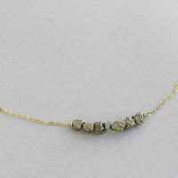 Pyrite stone bar necklace 14k gold filled chain with raw rock gemstones