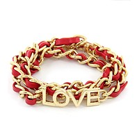 Red and Gold Love Chain Bracelet