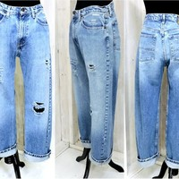 Vintage Ralph Lauren jeans 31 X 30 size 8 / 9 / high waisted / distressed  / 90s relaxed fit boyfriend jeans
