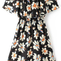 Black Frilled Cut-Out Shoulder Floral Dress