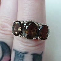 Gorgeous 3 Stone Smoky Topaz Ring Size 7 in Sterling Silver // Edwardian Victorian Filigree Semiprecious Gemstone Art Nouveau Deco Antique
