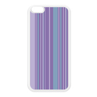 Stripes Purple White Silicon Rubber Case for iPhone 6 Plus by Gadget Glamour