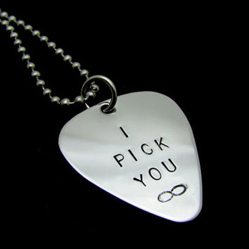 Couples Necklace (1) - I Pick You Infinity - Guitar Pick Necklace