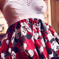 Up-Cycled Kawaii Fashion Bubble Top in Vintage Mickey Mouse Bed-sheet by Janice Louise Miller