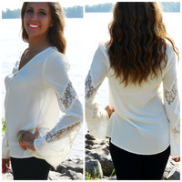 Crystal Creek Ivory Long Sleeve Button Top
