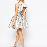Hope and Ivy Mini Dress in Sateen Floral Print with Frill Back Detail at asos.com