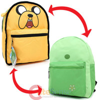 """Adventure Time Finn and Jake Large School Backpack Reversible 16""""Canvas Book Bag"""
