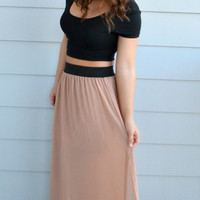 Banded Maxi Skirt- Nude - Something Madison