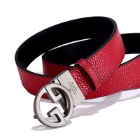 GUCCI Tide brand new simple retro wild smooth buckle belt #4
