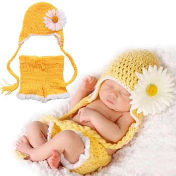 born Baby Girls Boys Crochet Knit Hat Shorts Costume Photography Prop Outfits