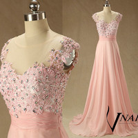 A Line Long Wedding Party Dress Cap Sleeve Top See Through Elegant Long Pink Lace Prom Dresse Formal Evening Dresses 2014