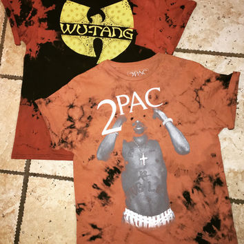 Fear of god inspired bleached hiphop band shirts, Tupac band tee, wutang band tee, bleached rock shirt, vintage band tee