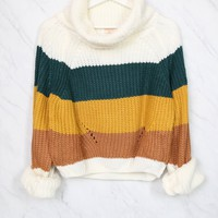Fall for You Knitted Block Color Turtleneck Sweater in Mustard Teal Combo