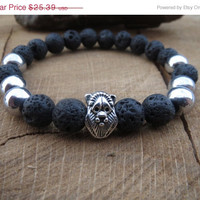 Men Bracelet, Mens Lava Stone Hematite Bracelet,Black and Silver,  Lion Bracelet, Power Bracelet, Root Chakra, Mala Bracelet