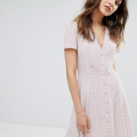 Nobody's Child Button Front Mini Dress In Polka Dot at asos.com