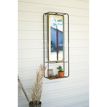 Antique Brass Mirror With Shelf