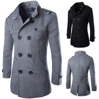 Double Breasted Men Fashion Pea Coat