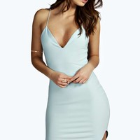 Christel Curved Hem Strappy Bodycon Dress