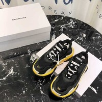 Balenciaga Black Yellow Triple-S Dad Torre Sneakers Trainers Running Shoes