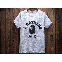Bape 2018 Men and Women Camouflage Letters Cotton Short Sleeve T-Shirt F-A-KSFZ