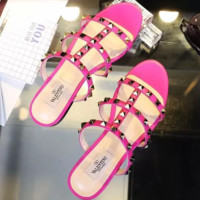 Valentino Mesh Line Women Slipper Rivet Sandals Shoes Pink