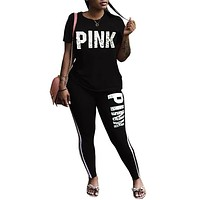 Women's Tracksuit Sports Letter Spandex Tee / T-shirt Leggings Clothing Suit Zumba Yoga Running Short Sleeve Plus Size Activewear Breathable Anatomic Design Compression Sweat-wicking Stretchy