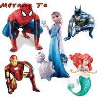 3D Mermaids Iron Batman spiderman Unicorn Foil Helium Balloons Avengers super Hero Birthday Party Decoration Globos kids toys