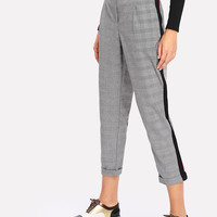 Contrast Tape Plaid Crop Pants -SheIn(Sheinside)