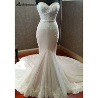 Sweetheart Mermaid Wedding Dresses 2018 Floor-Length Chapel Train Appliques Bridal Dress Robe de Mariage