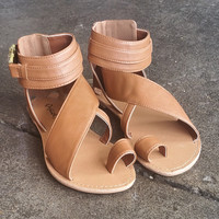 A Buckled Sandal in Tan