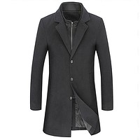 Mens Dual Collar Mid Length Coat