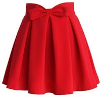 Sweet Your Heart Bowknot Pleated Skirt in Ruby Red