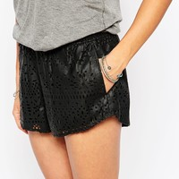 Abercrombie & Fitch Laser Cut Leather Look Shorts