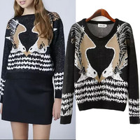 Long Sleeve Eagle Pattern Knitted Pullovers Sweater Tops