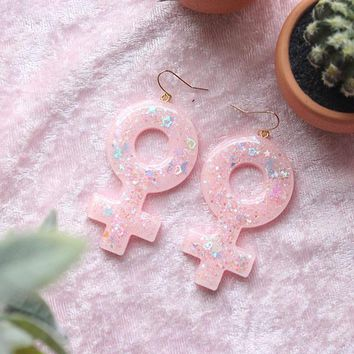 Kawaii Pastel Pink Large Female Venus Symbol Dangle Earrings/Girl Power/feminist