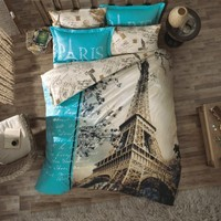 100 Cotton 7pcs Paris in Autumn Full Double Size Comforter Set Eiffel Theme Bedding Linens