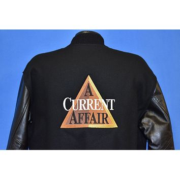 90s A Current Affair TV Show Wool Leather Letterman Jacket Small