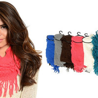 Pick Color! Knitted Chunky Sweater Cable Fringe Boho Scarf
