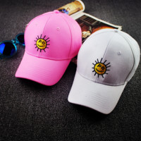 Smiling Sun Embroidered Baseball Cap Hat