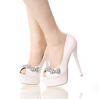 New arrival white flower Peep toe wedding shoes 14cm heel bride shoes shallow mouth thin heel shoes platform shoes