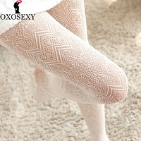 9 color autumn black gray wave Retro lace hollow sexy stockings Women Fishnet Pantyhose Mesh Thigh High Stocking lingerie 061