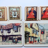 Vintage Cambridge Series Old Inns Cotswood Trivet and Coaster Table Set 1960s