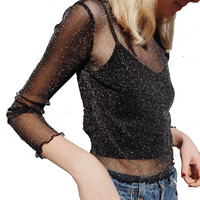 Round-neck See Through Long Sleeve T-shirts Stylish Ladies Bottoming Shirt [10390717261]