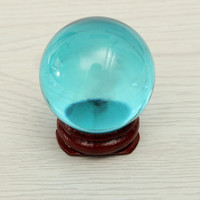 40mm Asian Rare Natural Magic Blue Quartz Crystal Healing Ball Sphere Stand Feng Shui Home Decoration Craft Figurines