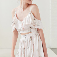 Oh My Love Tiarella Ruffle Cold-Shoulder Top | Urban Outfitters